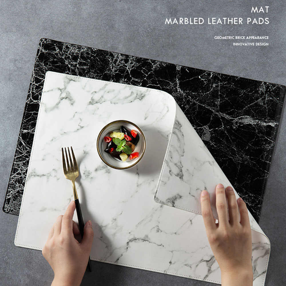 Luxury PU Leather Placemat Black White Marble Pattern Table