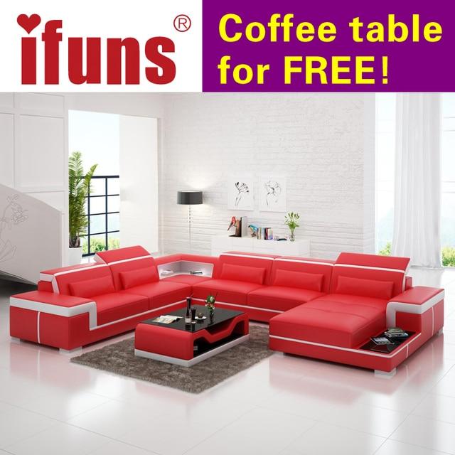 Europäische Neueste Designer Sofa Große Größe U Förmigen Weißen Ledersofa  Mit LED Licht, Couchtisch