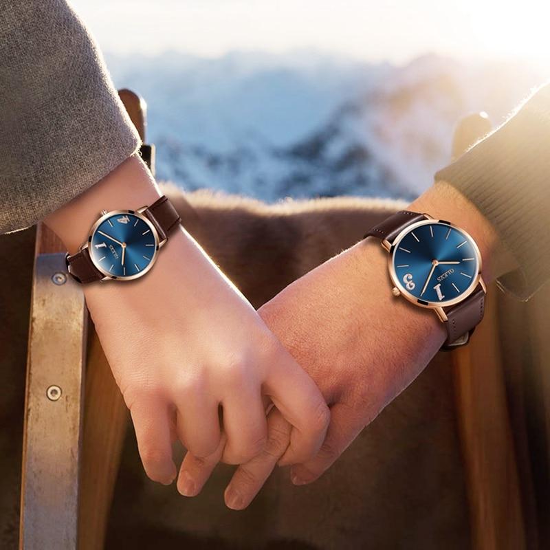 OLEVS marque de luxe Couple montres Style d'affaires en cuir amoureux hommes femmes horloge ultra mince Quartz montre saint valentin cadeau nouveau-in Montres couple from Montres    1