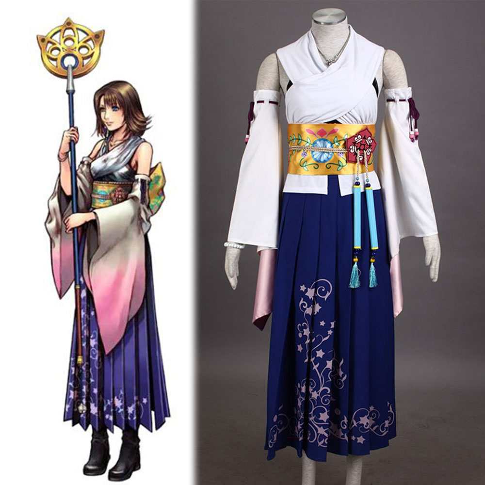 High-quality  Final Fantasy X Yuna Cosplay Costume+Necklace+Bracelet+Ring+earring Halloween Costumes for Women Adult Costumes