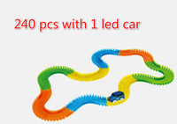 240pcs Magic With Cars Tracks Glow Racing Glowing Race Track Bend Flex Electronic Rail Car Roller