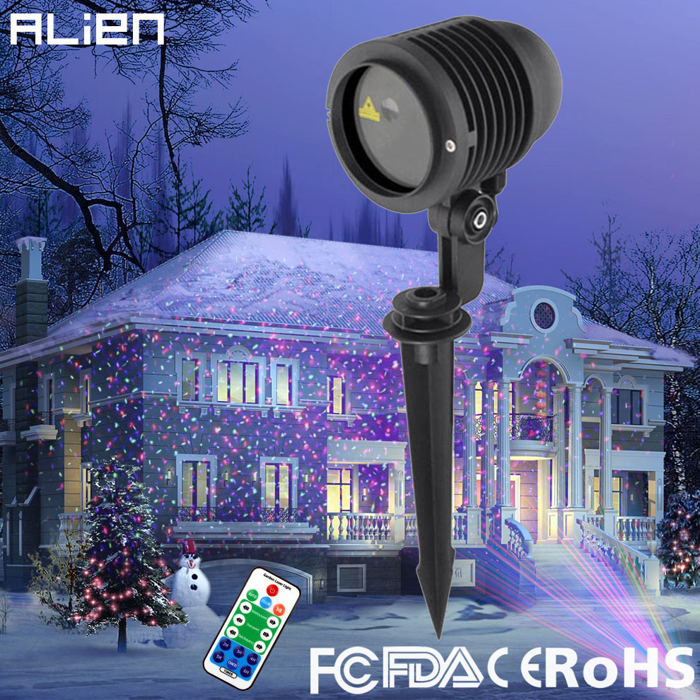 ALIEN RGB Star Outdoor Waterproof Christmas Laser Light Projector Dots Effect Garden Home Xmas Tree Landscape Show Lighting christmas waterproof laser lighting landscape sky star green red laser effect projector stage light for outdoor garden lamp