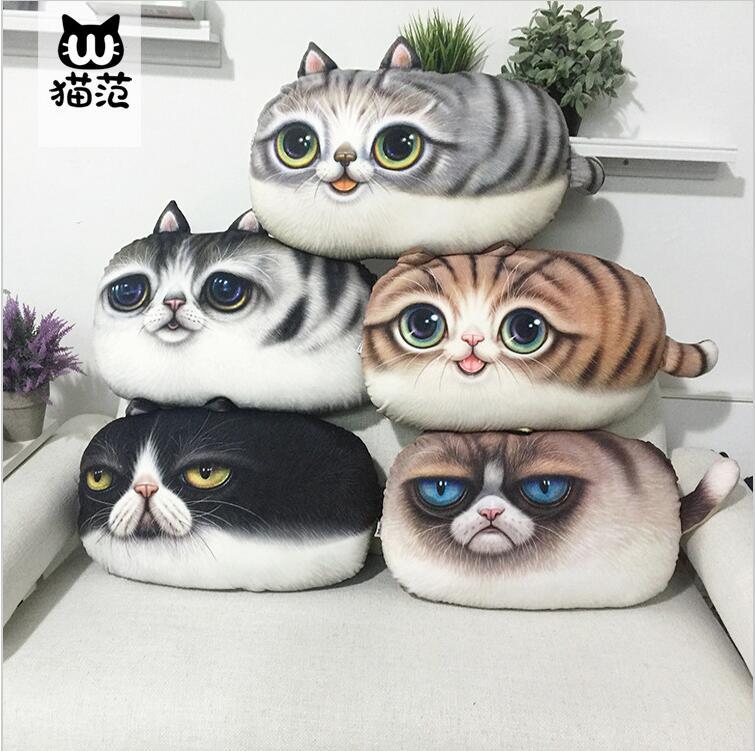 2016 New Arrival Cartoon Cat Animals Decorative Throw Pillows 3D Printed Cat Decor <font><b>Cushion</b></font> Cotton Cojines <font><b>Home</b></font> <font><b>Cushions</b></font>