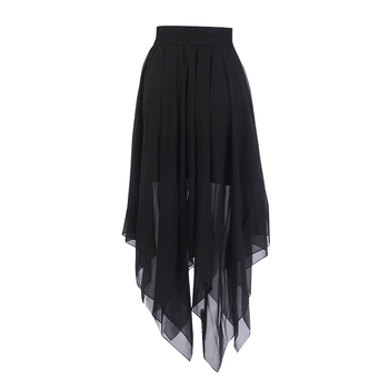 Summer Mesh Irregular Women Skirts Pentagram Zipper Black Punk Skirts Gothic Darkness Lady Skirt Casual Loose Streetwear Skirts 2