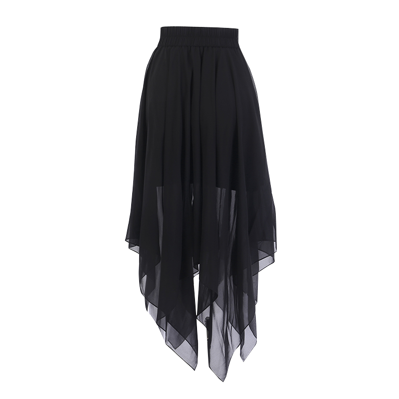Image 2 - Summer Mesh Irregular Women Skirts Pentagram Zipper Black Punk Skirts Gothic Darkness Lady Skirt Casual Loose Streetwear Skirts-in Skirts from Women's Clothing
