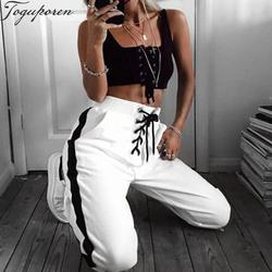 Модные Штаны с высокой посадкой Для женщин шнурок талии брюки 2018 Лето Зима в полоску Штаны Sideseam пот Штаны белые брюки