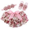 Baby Girl Ruffle Shorts Pérola Gasto Headband Da Flor Set, Calções Roupas Infantil Meninas Da Criança Do Bebê Da Menina, Meninas Infantis Bloomers