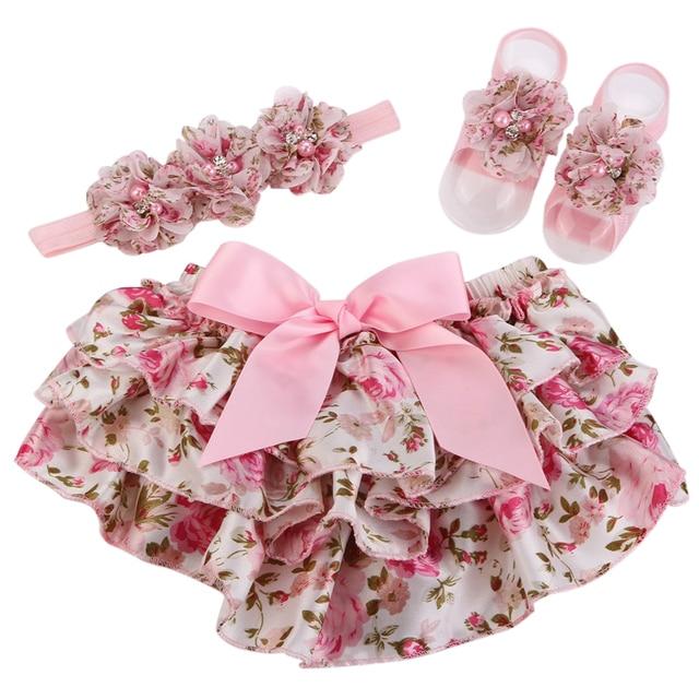 d2677fd16 Conjunto de diadema de flores de perla con volantes para bebé, pantalones  cortos para niña las niñas infantil Bloomers