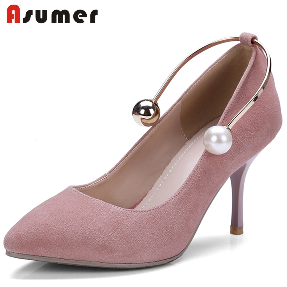 Здесь можно купить  ASUMER 2018 NEW fashion suede leather pumps women pearl+metal decoration pointed toe thin high heels summer shoes wedding shoes  Обувь
