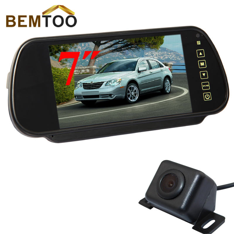 bemtoo car rear view camera backup camera with 7 inch car monitor rear view mirror lcd screen. Black Bedroom Furniture Sets. Home Design Ideas