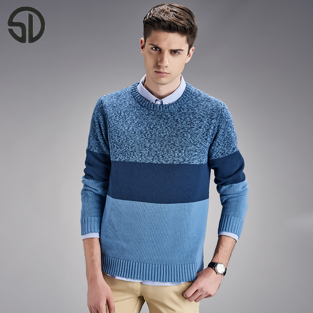 2016 New Cotton Men Striped Sweater Knitting Patterns Mens Sweaters