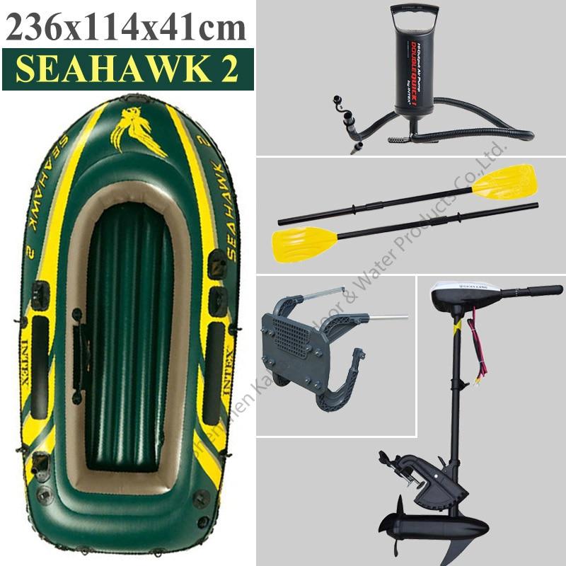 2 person Intex Seahawk inflatable boat fishing pvc boat fishing tool 236*114*41cm paddle oar hand pump motor racket dinghy raft intex монстр шина с ручками 114 см арт 56268