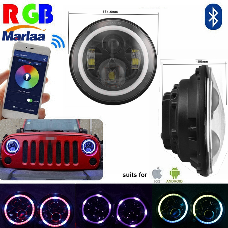 7 LED Headlights Bulb RGB Halo Angel Eye with Bluetooth Remote for Jeep Wrangler JK LJ CJ Hummer H1 H2 Headlamp 7 led headlights bulb rgb halo angel eye with bluetooth remote for 1997 2016 jeep wrangler jk lj cj hummer h1 h2 headlamp