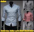 Elegante manga comprida gola xadrez / xadrez camisas formais para homens QR-1405
