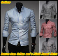 Free shipping Elegant design long sleeve button down collar plaid/checked formal shirts for men QR-1405
