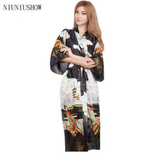 Black Fashion Ladies Summer Kimono Long Bath Robe Gown Chinese Women's RayonBrides Wedding Robe Nightgown One Size T069(China)