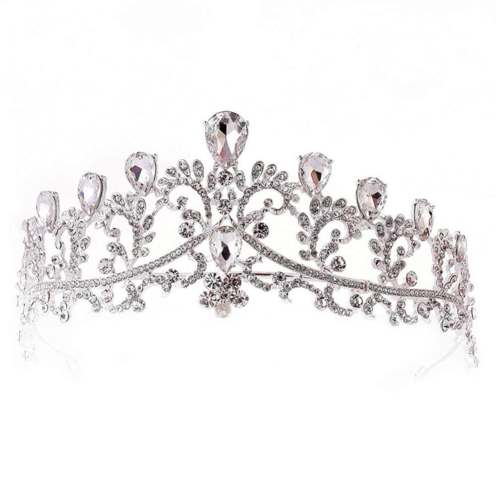 Luxury Crystal Rhinestones Royal Princess Bridal Tiaras Crown Rhinestone Pageant Crowns Bride Headbands Wedding Hair Accessories in Hair Jewelry from Jewelry Accessories