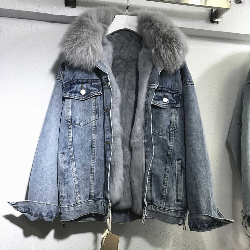 Winter Denim Jacket For Women Removable Rabbit Wool Liner Jeans Jacket Real Fox Fur Collar Plus size Warm Basic Coat Outerwear