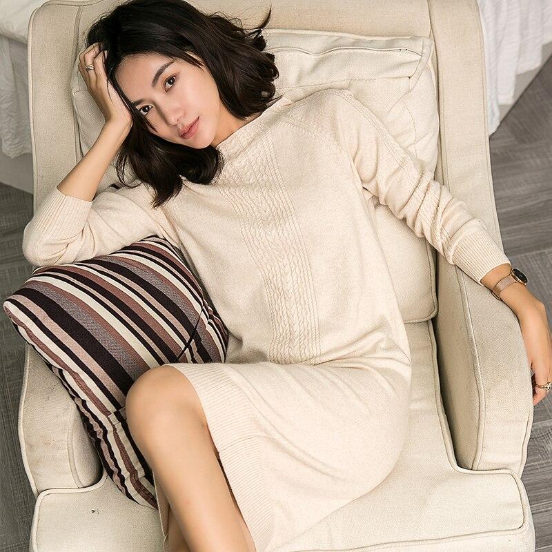 Vestido de mujer 2019 nuevo suéter de cachemira pura mujer suave y cómodo cuello redondo jerseys mujer moda suéter tejido largo-in Pulóveres from Ropa de mujer    2