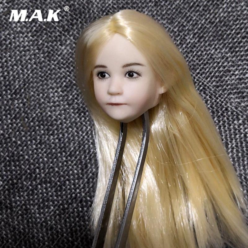 1/6 Scale Lovely Child Head Sculpt Little girl Head Model Blond Straight Hair For figure body PH pale tone body figure