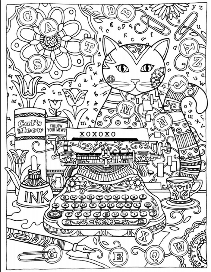 Creative Haven Cats Colouring Book For Adults Antistress