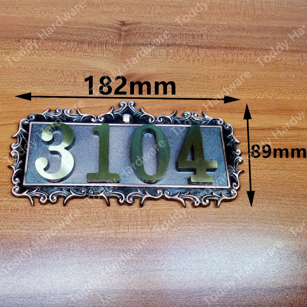 ФОТО 4 Digits European Style Pure copper house number card Villa apartment number four digits