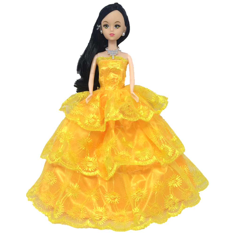 Casamento Vestido De Princesa Vestido Amarelo Evening Partido Da Bola Vestido Longo Saia Véu De Noiva Traje Roupas Para Acessórios Da Boneca De