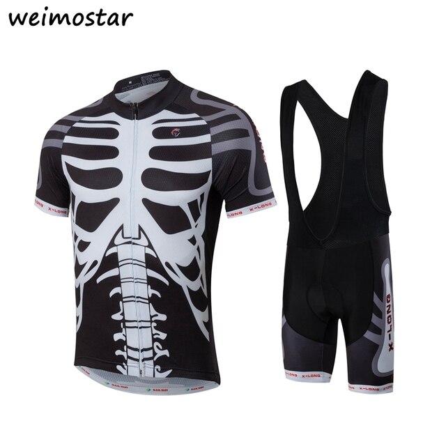 New Skeleton Skulls Mens Team Bike Pro Cycling Jersey Shorts  bib shorts set  Roupa Ropa De Ciclismo Cycling Mtb Bicycle Clothing f9990e6e9