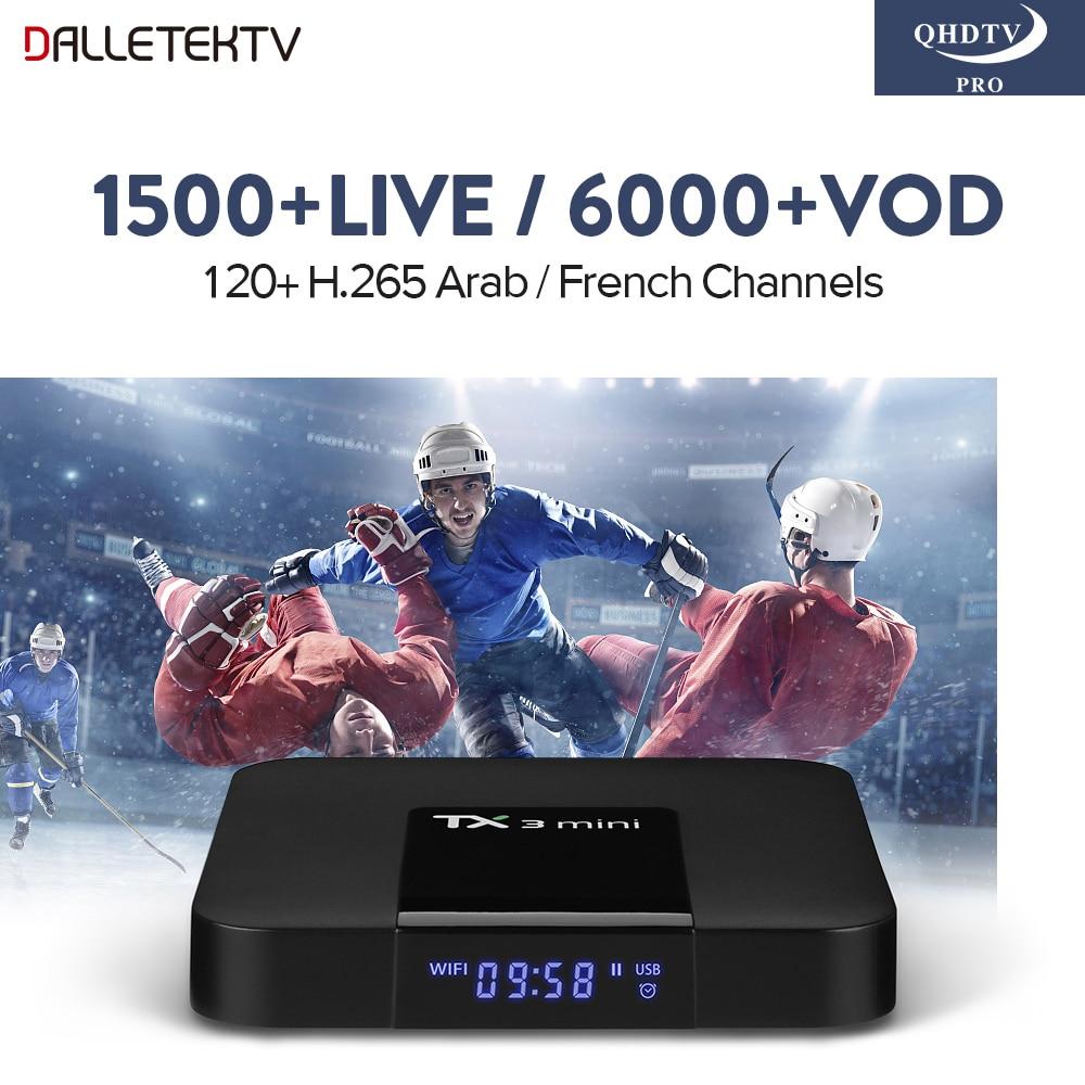 Smart TV Box TX3 MINI Android 7.1 Amlogic S905W QHDTV PRO Subscription IPTV 1500 Channels H.265 Europe Arabic French IPTV Box