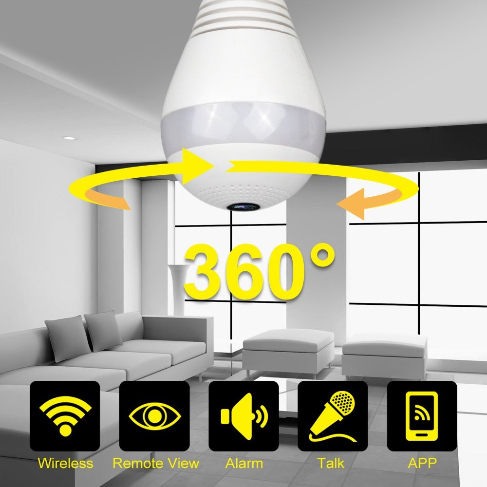 960P 360 degree Wireless IP Camera Bulb Light FishEye Smart Home CCTV 3D VR Camera 1.3MP Home Security WiFi Camera Panoramic new ip camera network camera vr 360 degrees wifi wireless 3d fisheye panoramic light camera network light bulb home security