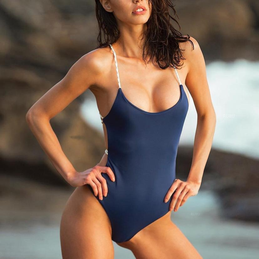 Womail Swimwear Women 2018 Monokini One Piece Swimsuit Solid Bandage Sexy Bikini Push Up Padded Swiming suit maio praia #YY47