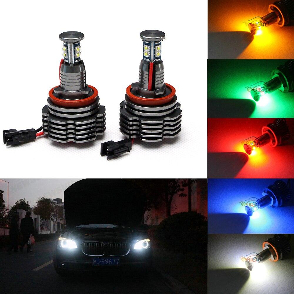 360-Degree Xenon White CREE chip 40W High Power H8 LED Angel Eyes for  BMW E60 E61 E90 E92 E70 E71 E82 E89 1 3 5 Series X5 X6 Z4