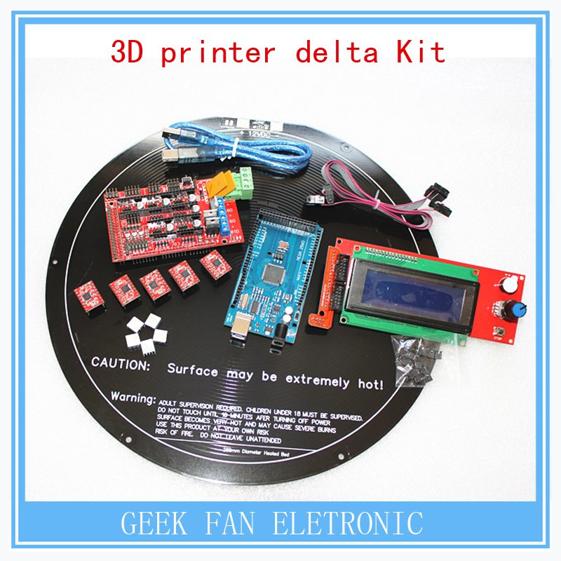 Reprap germ 3d printer delta Mega2560 5x A4988 round PCB heated bed LCD 2004 kit 3d printer reprap
