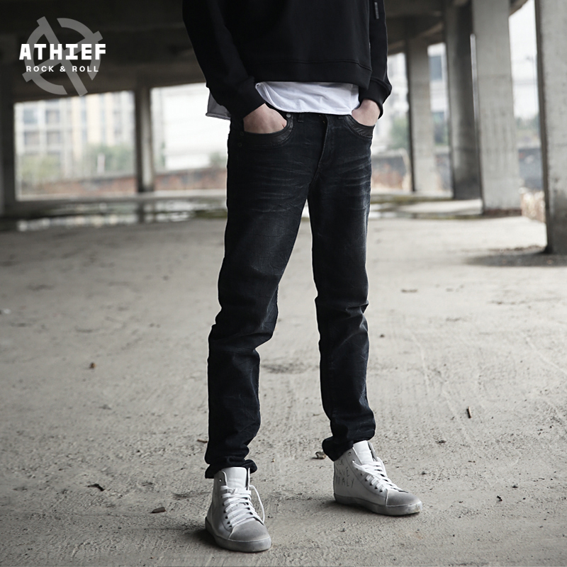 ATHIEF Straight Cut JEANS PANTS Casual Plus Size Stretch Denim Men Classic Loose Vintage Cotton Jean Trousers Free Shipping  tiger castle baggy men black jeans stretch classic cotton trousers men casual black denim loose lightweight pants size 40 42