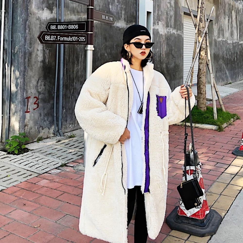 Jasmine Street Thickening Mid-long Zipper Draw-rope Waist Similar Lamb Fabric Cotton Overcoat Winter Bf Loose Tide coats jackets
