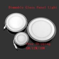 10pcs Lot LED Panel Light 6W 12W 18W Glasses Led Round Panel Recessed Ceiling Downlight AC85