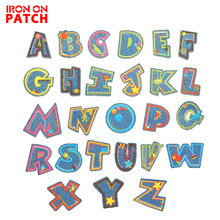 iron on Alphabet Letter patches English Language Applique Cartoon Color Iron on badge Kid's Baby cloth Embroidery Admission name(China)