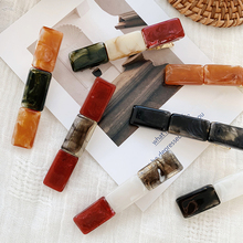 Korea Vintage Amber Color Resin Hair Clips Women Accessories Geometric Rectangle Acrylic Hairpins Long Barrettes Hairgrips