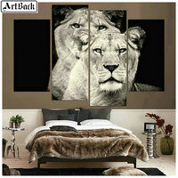 4 spell diamond painting lion full square diamond embroidery horse 3d mosaic sticker animal four styles