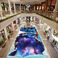 Custom 3D Floor Sticker Photo Wallpaper Modern Designs Planet Floor Murals PVC Waterproof Self Adhesive Wallpaper