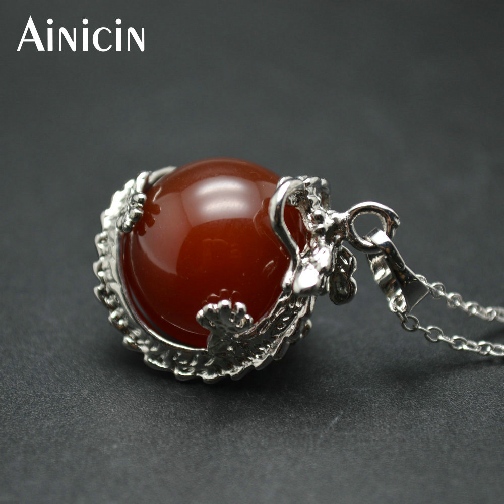10pcs Christmas Gift Chinese Dragon Twine On Natural Red Stone Ball Fashion Men and Women Pendant Necklace