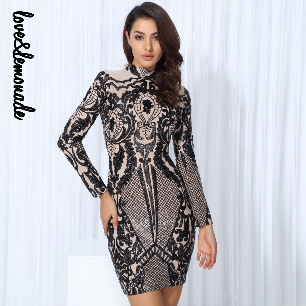 Lovelemonade Black Geometric Graphic Sequins Nude Lining -4749