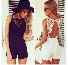 2018 New Hot Sale Women Fashion Sexy Backless Lace Stitching Rompers Sleeveless S Clothing Black White Fast Shipping