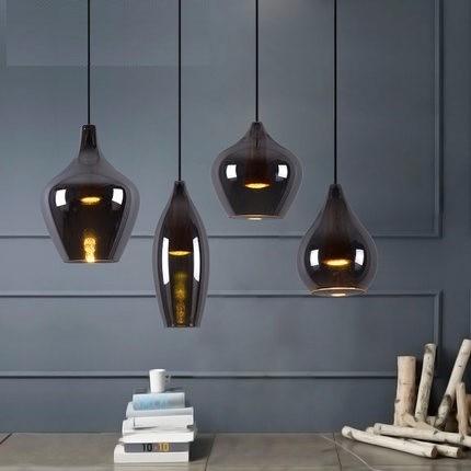 Loft Style Creative Glass Ball Pendant Lamp Retro Smoke