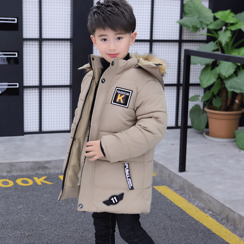 цена на Children's Clothing Boy Winter Coat Long Section Thicken 2018 New 12 Children's Cotton Jacket High-quality 13 Hand-padded Cotton