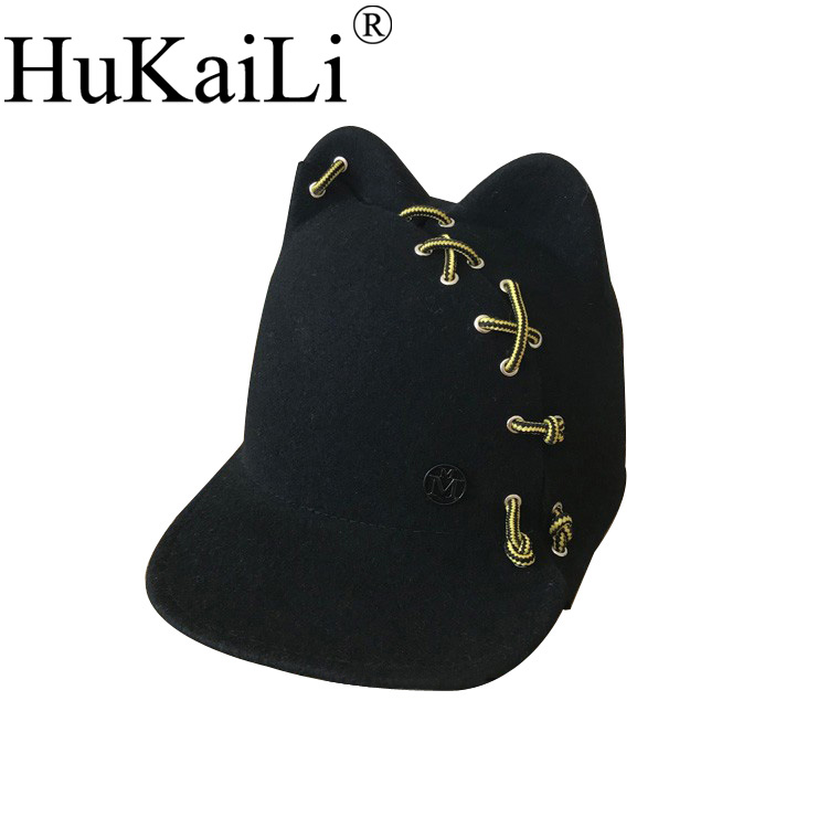 black metal logo wool Jamie hat wide-brim ears baseball cap cutting lacing individuality female felt hat bkone dad hat winter snow men balaclava hat muslim skullies beanies wool knitted earflaps windproof thermal plush wide brim cap