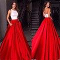 Blanco y Rojo Vestidos de Baile Una Línea de Dos Piezas de Raso Joya Cuello Backless 2016 Vestidos Largos Vestidos de Noche de Miss Universo