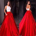White and Red Prom Dresses A-Line Two Piece Satin Jewel Neck Backless 2016 Miss Universe Pageant Dresses Long Evening Gowns