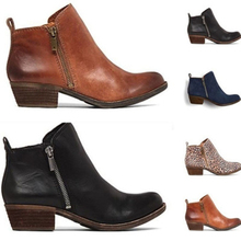 Fenlunna Women Shoes Plus Size Winter Square Heel Boots Coarse Wear-resistant Female Slip-proof