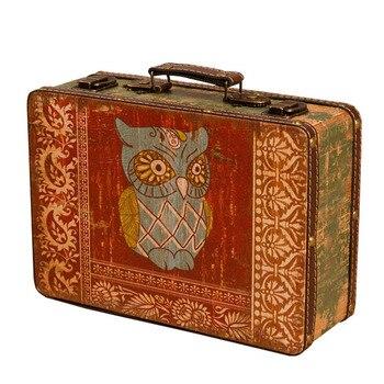 Elegante personalidad europea pequeña maleta de madera portátil ventana antigua decoración Mini caja de almacenamiento Retro adornos regalos